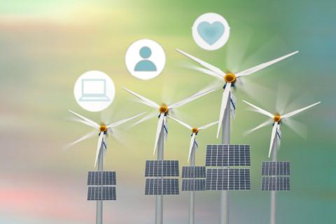 Símbolos de energías renovables