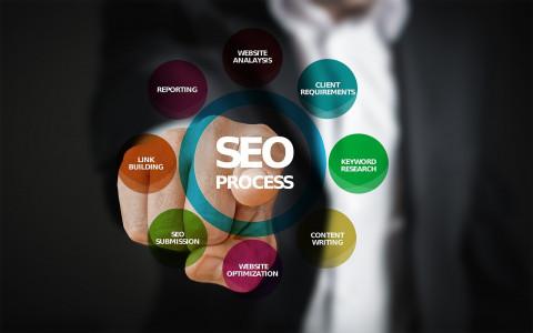 Hombre señalado el concepto SEO dentro del márketing de búsqueda