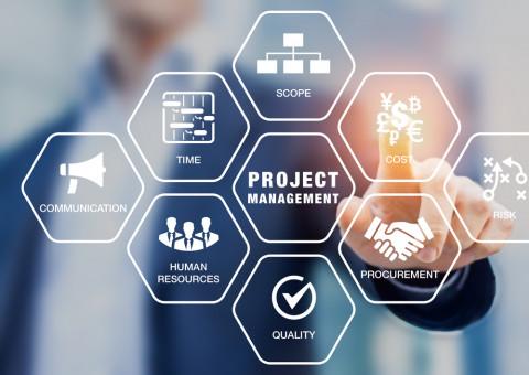 Hombre señalando el concepto de Project Managemente