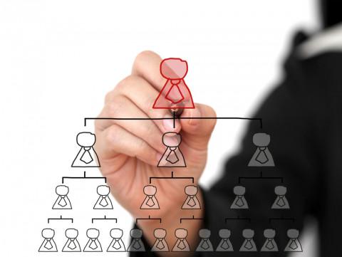 hombre dibujando una pirámide de personal que significa dirección y administración empresarial