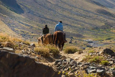 Viajeros de turismo rural a caballo