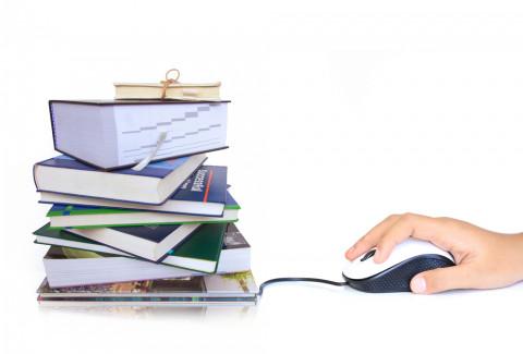 Ratón conectado a libros
