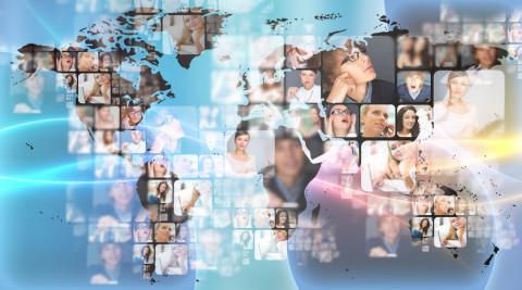 Mapa del mundo con gente