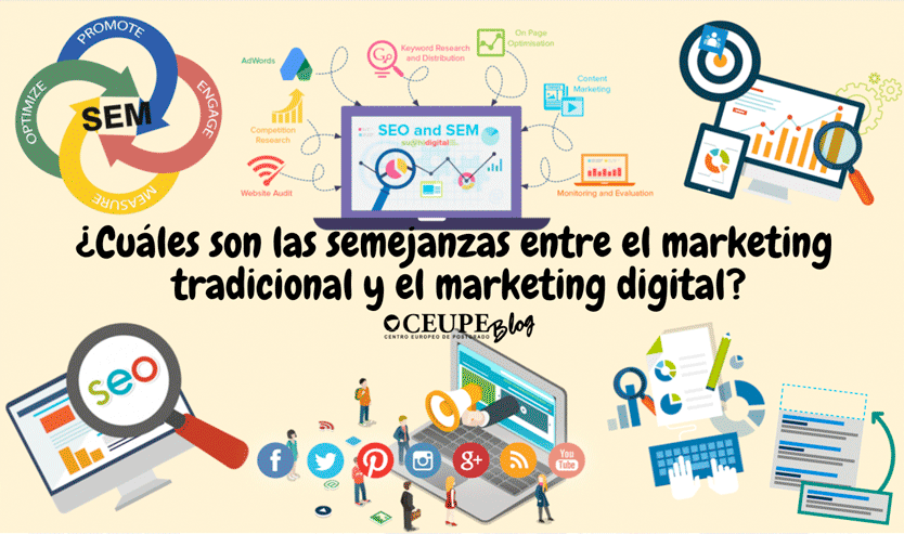 ¿Cuáles son las semejanzas entre el marketing tradicional y el marketing digital?