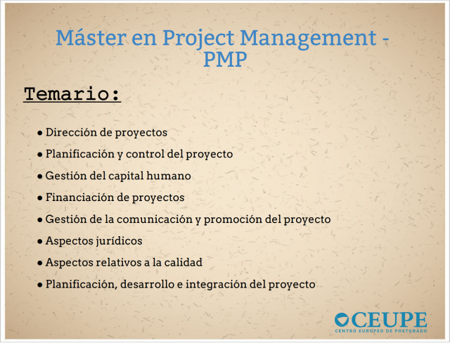 Master Project Management Temario
