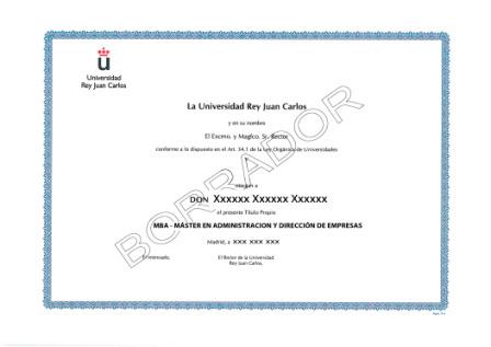 Título Maestría Universitaria de la Universidad Rey Juan Carlos - URJC
